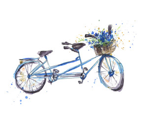 Tandem bicycle with flowers, Watercolor illustration