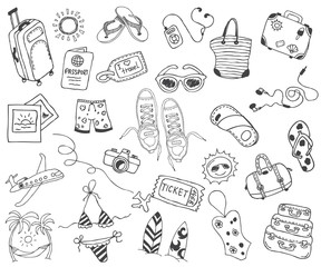 Hand drawn travel, vacation, travel, beach doodle Icons collection on white back