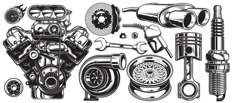 Set of monochrome car repair service elements isolated on white background.