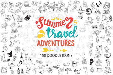 Hand drawn sea, travel, drinks, fruits, summer doodle Icons collection on white