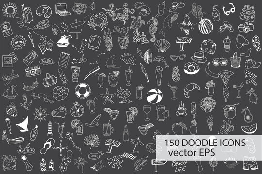 Hand drawn sea, travel, drinks, fruits, summer doodle Icons collection on chalkb