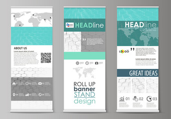 Roll up banner stands, abstract geometric design, corporate vertical vector flyers, flag layouts. Chemistry pattern, hexagonal molecule structure on blue. Medicine, science and technology concept.