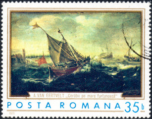 UKRAINE - CIRCA 2017: A stamp printed in the Romania shows ships in the storm by Andries van Eertvelt 1590-1652, circa 1971