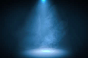Keuken foto achterwand Licht, schaduw 3D rendered illustration of podium with blue spotlight background with smoke.