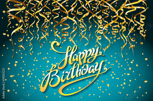Concept Party On Blue Background Top View Happy Birthday Gold Confetti Vector