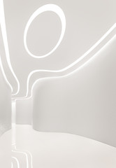 Modern space interior 3d rendering image.A blank curve wall with pure white. Decorate wall with extrude horizon line pattern and hidden warm light