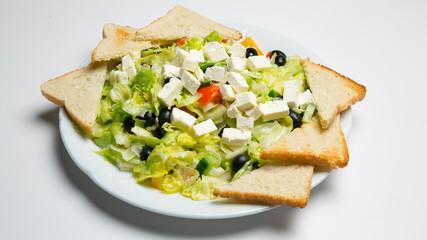 greek salad with toast