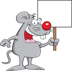 Cartoon illustration of a mouse holding a sign.