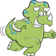 Cartoon illustration of a running triceratops.