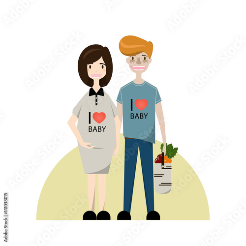 Cartoon Happy Young Family Vector Illustration Smiling Pregnant