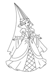 Princess Coloring Page fashion dress contour Illustrations