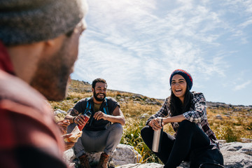Group of people taking a break during a hike