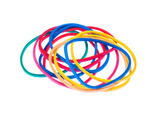 Multicolor rubber bands over a white isolated background