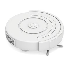 Blank robot vacuum cleaner. 3d render isolated on white. Smart cleaning technology concept