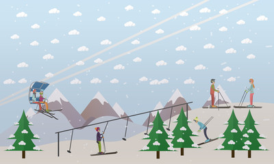Ski lifts service vector illustration in flat style