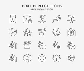 garden and seeding thin line icons 1