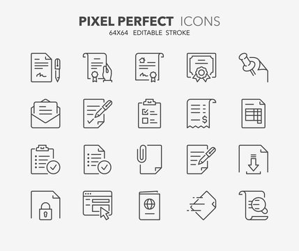 documents thin line icons