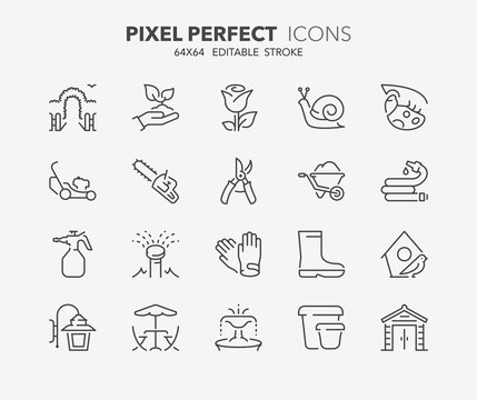 garden and seeding thin line icons 2