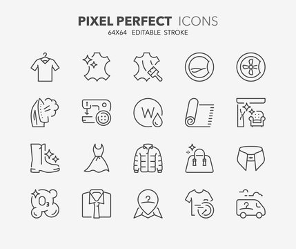 laundry services thin line icons