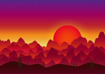red sunset in the arabian desert