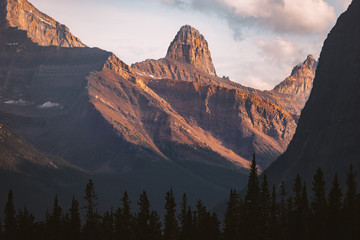 Mountain peaks in hazy sunshine