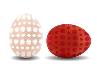 Two 3d isolated vector realistic brown and white easter eggs with pattern on white background