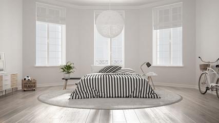 Minimalist nordic white bedroom, classic modern interior design
