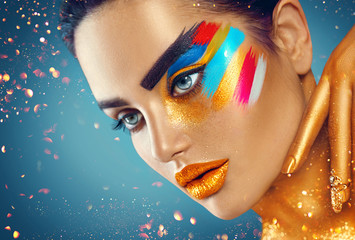 Foto op Canvas Beauty Beauty fashion art portrait of beautiful woman with colorful abstract makeup