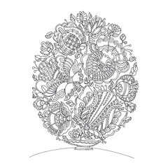 Easter egg shape zentangle image for adult coloring. Hand drawn lace like pattern with flowers. Vector illustration for card, print, invitation, poster.