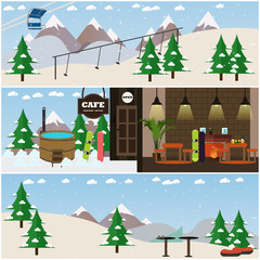 Vector set of winter fun interior flat posters, banners