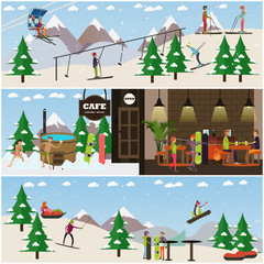 Vector set of winter fun posters, banners in flat style