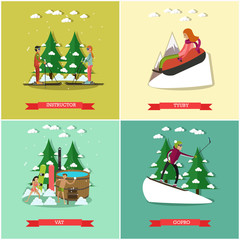 Vector set of winter fun posters in flat style