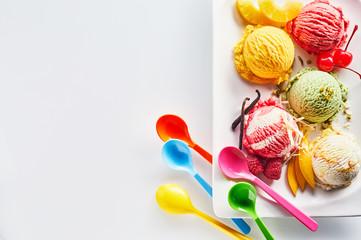 Assortment of Italian ice cream scoops
