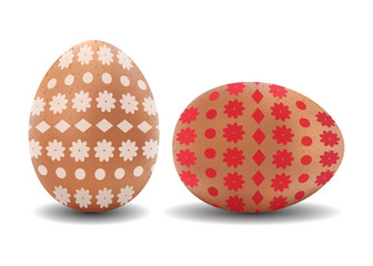Two 3d isolated vector realistic brown easter eggs with pattern on white background