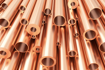 Poster Metal Many different copper pipes, abstract industrial background