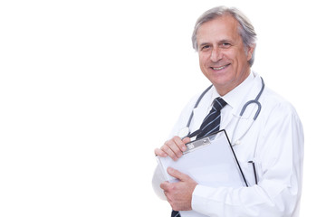 happy senior doctor with stethoscope isolated on white