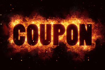 coupon fire flames burn burning text explosion explode