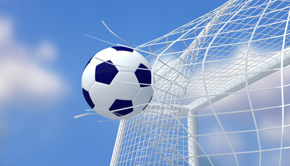 Football blue and white color shooting Goal with blurred blue sky background.3D Rendering