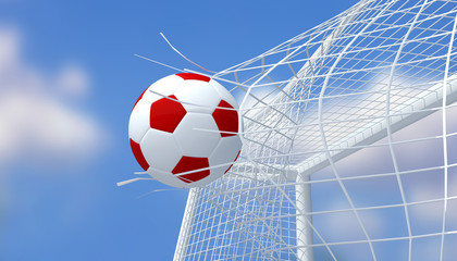 Football red and white color shooting Goal with blurred blue sky background.3D Rendering