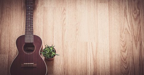 Still Life Ukulele on Wooden Floor Background with Copy Space