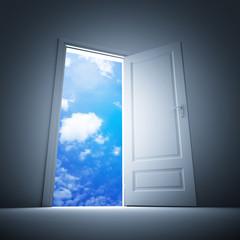 Door to sky. 3d illustration