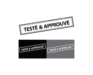 Tested and Approved - French sticker / stamp / label (Teste & Approve) Print colors used.  Grunge layer is applied exactly on the colored stamp. Color is easily change.