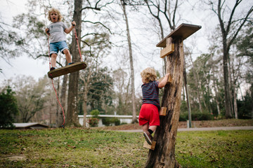Two children playing outside
