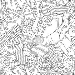 Seamless pattern with summer doodles elements.