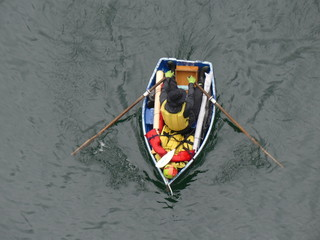 High angle background man rowing