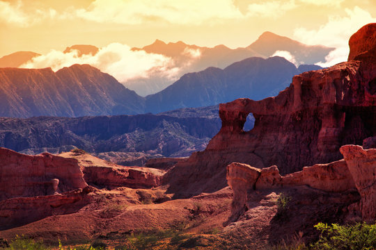 Red Mountain in the vicinity of the town of Cafayate. Province of Salta. Argentina
