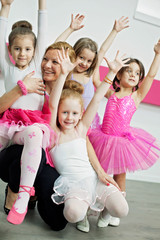 Little dancers with their coach
