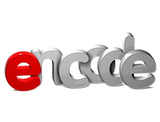 3D Word Encode over white background.