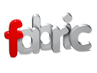 3D Word Fabric over white background.