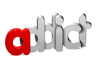 3D Word Addict over white background.